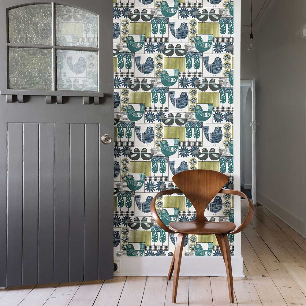 Hennika Wallpaper - Blue / Green - by A Street Prints