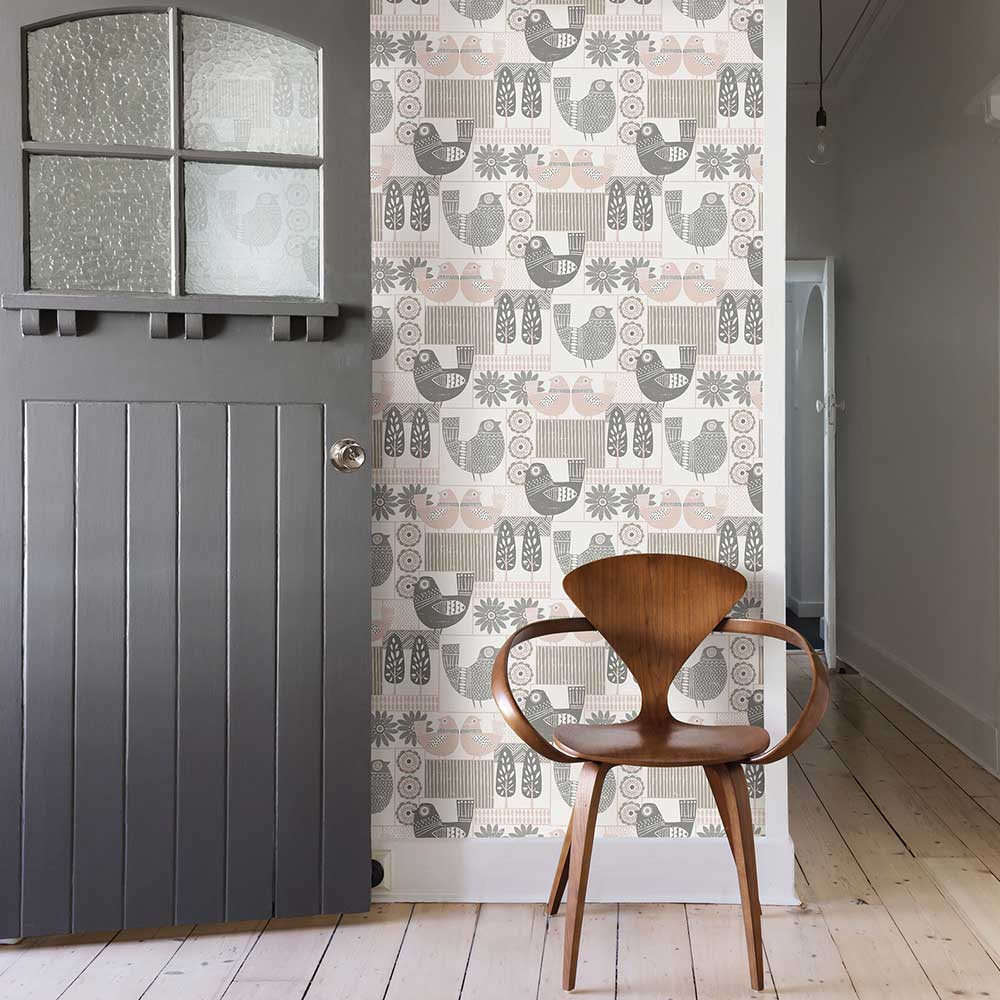 Hennika Wallpaper - Grey / Pink - by A Street Prints