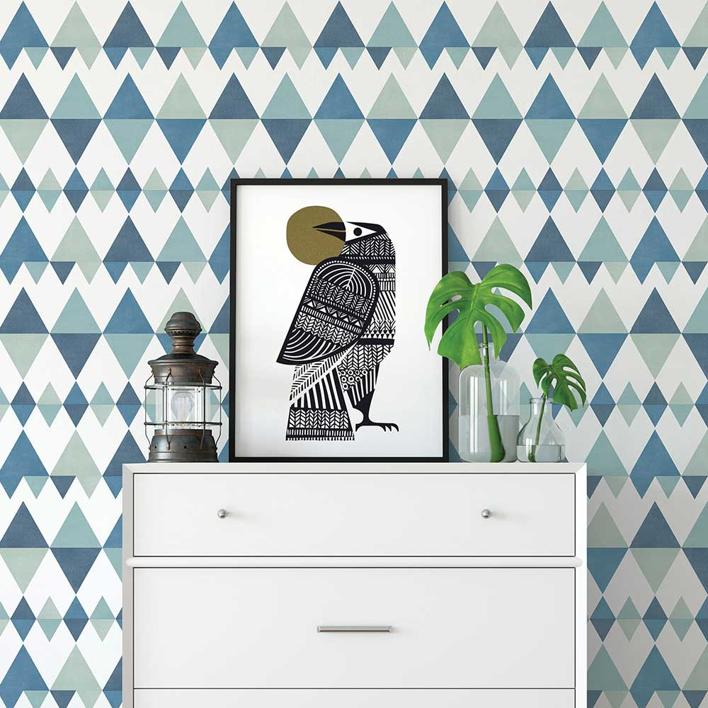 A Street Prints Triology Blue / Green Wallpaper - Product code: FD25129