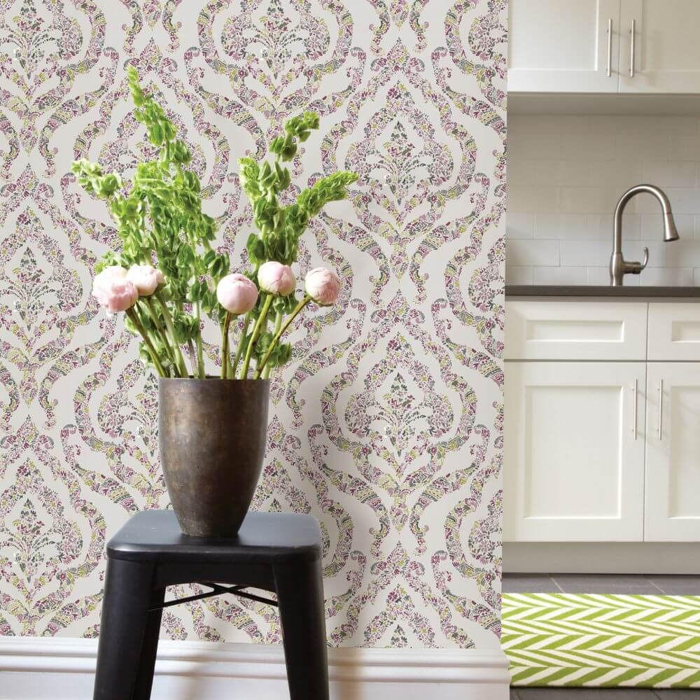 A Street Prints Featherton Purple / Green Wallpaper - Product code: FD25402