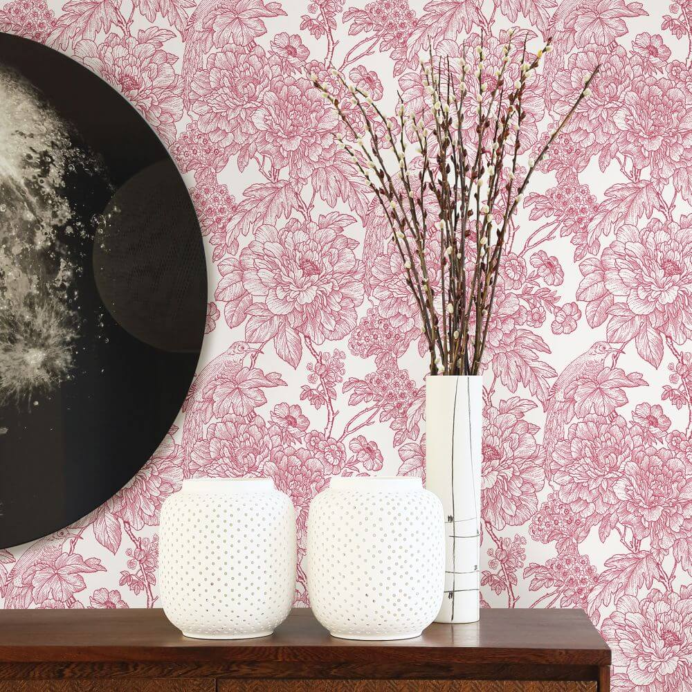 A Street Prints Birds of Paradise Pink Wallpaper - Product code: FD25410