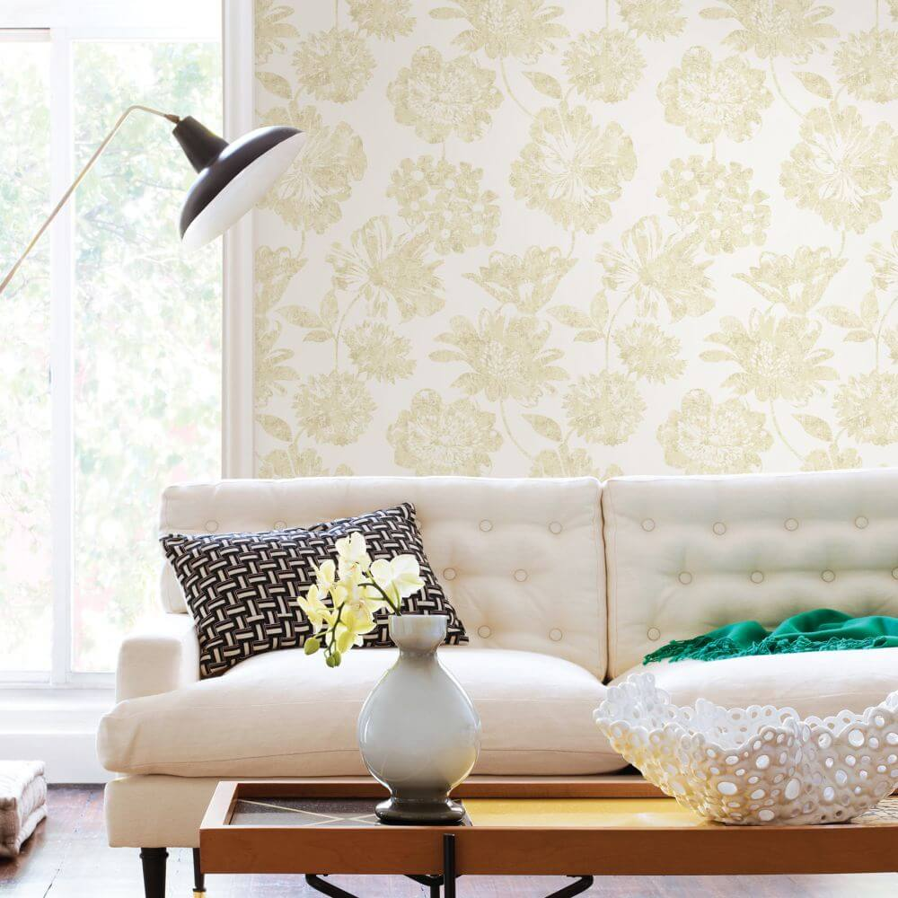 A Street Prints Folia Yellow Wallpaper - Product code: FD25417