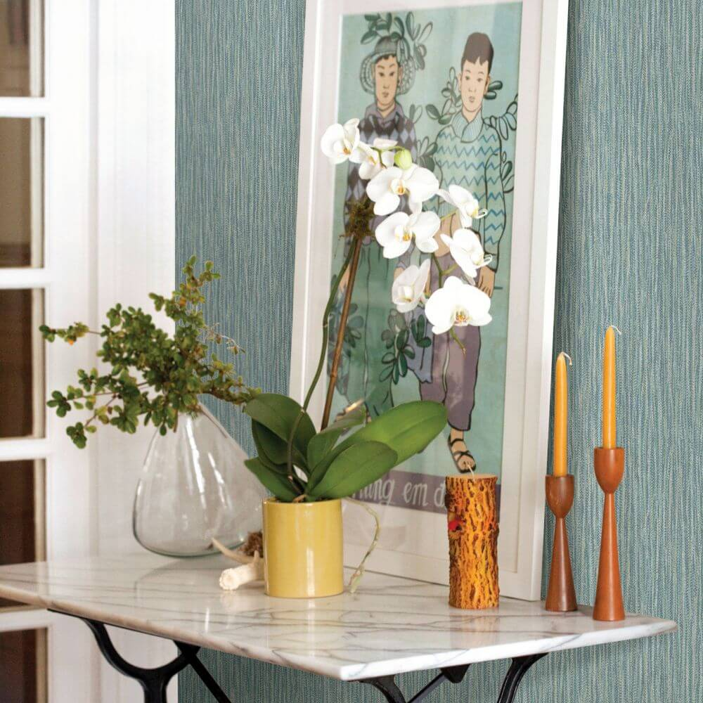 Raffia Wallpaper - Teal - by A Street Prints