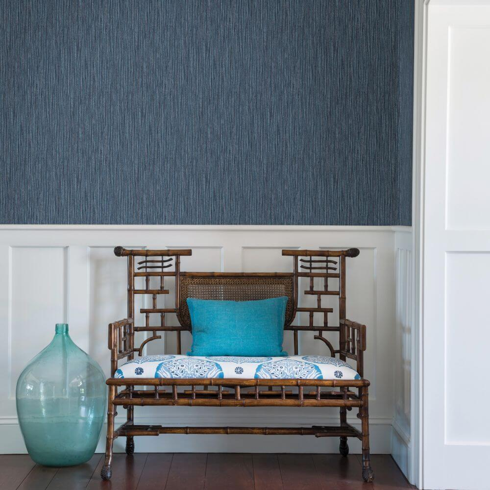 Raffia Wallpaper - Blue - by A Street Prints