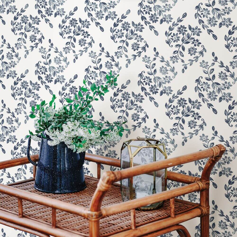 Arabesque Wallpaper - Blue - by A Street Prints