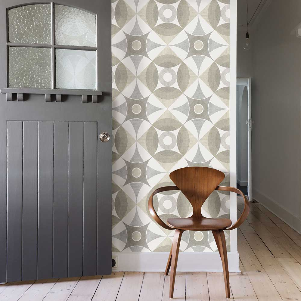 Ellis Wallpaper - Grey / Beige - by A Street Prints