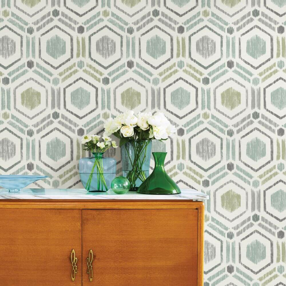 Borneo Wallpaper - Green / Grey - by A Street Prints
