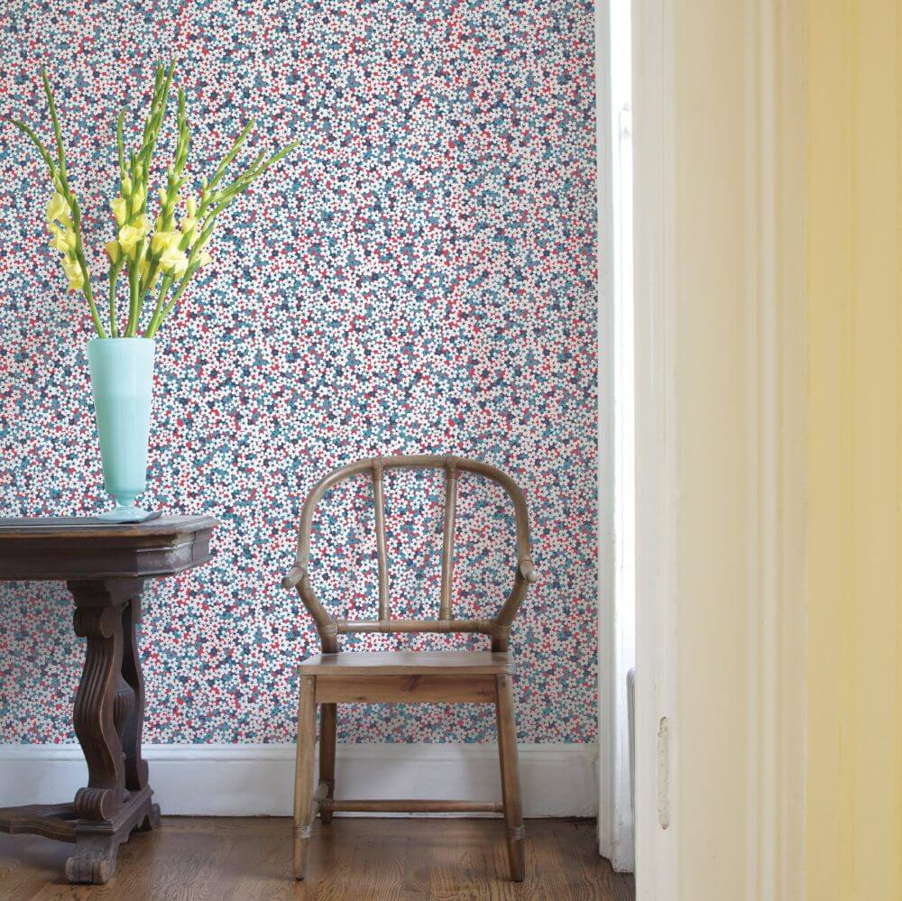 A Street Prints Giverny Blue / Red Wallpaper - Product code: FD25443