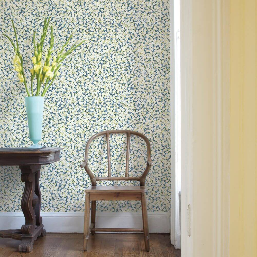 Giverny Wallpaper - Blue / Yellow - by A Street Prints