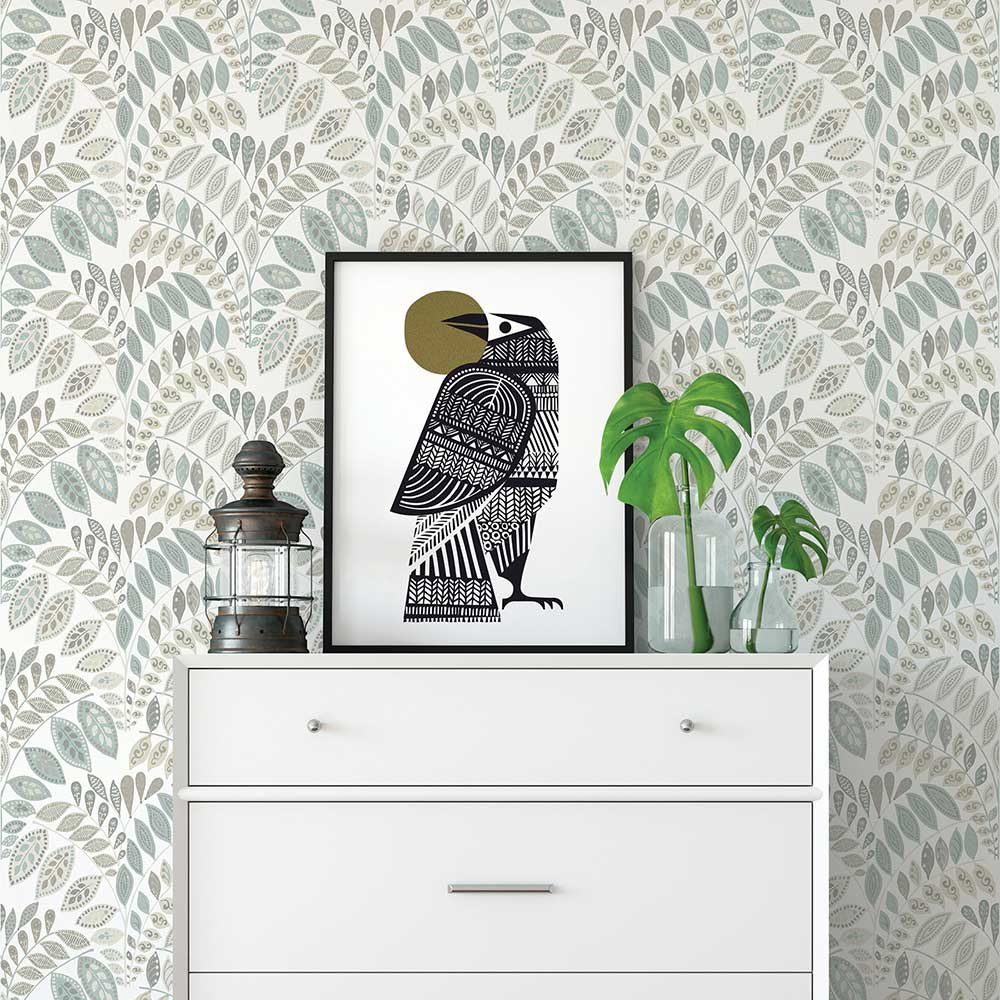 A Street Prints Fiddleheads Grey / Blue Wallpaper - Product code: FD25143