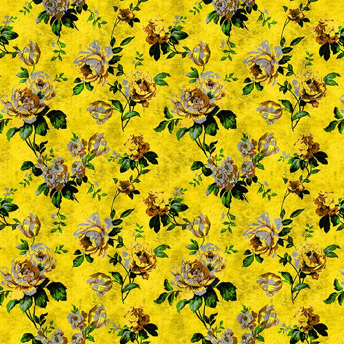 Wild Roses 5 Mural - Yellow - by Walls by Patel