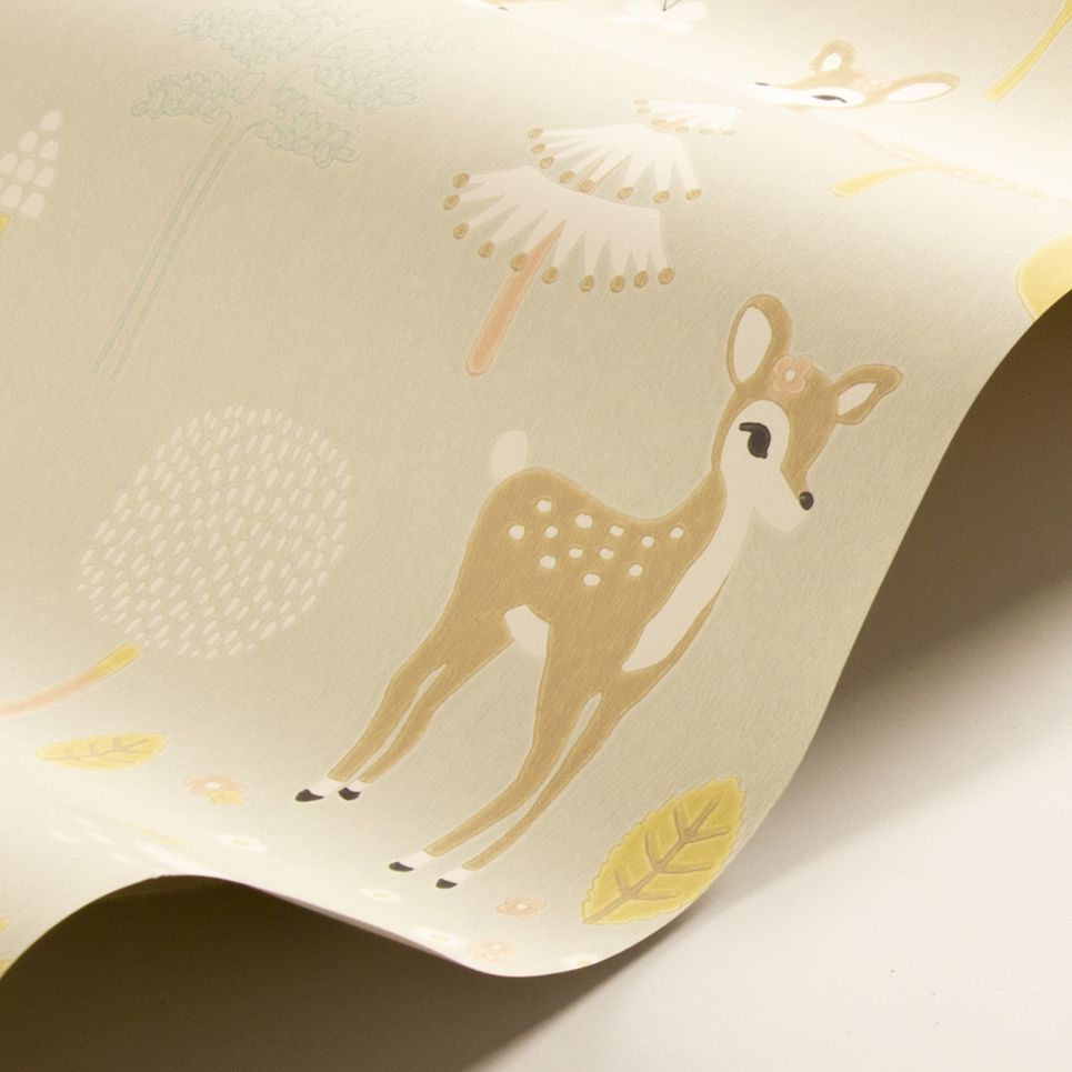 Golden Woods Wallpaper - Soft Grey - by Majvillan