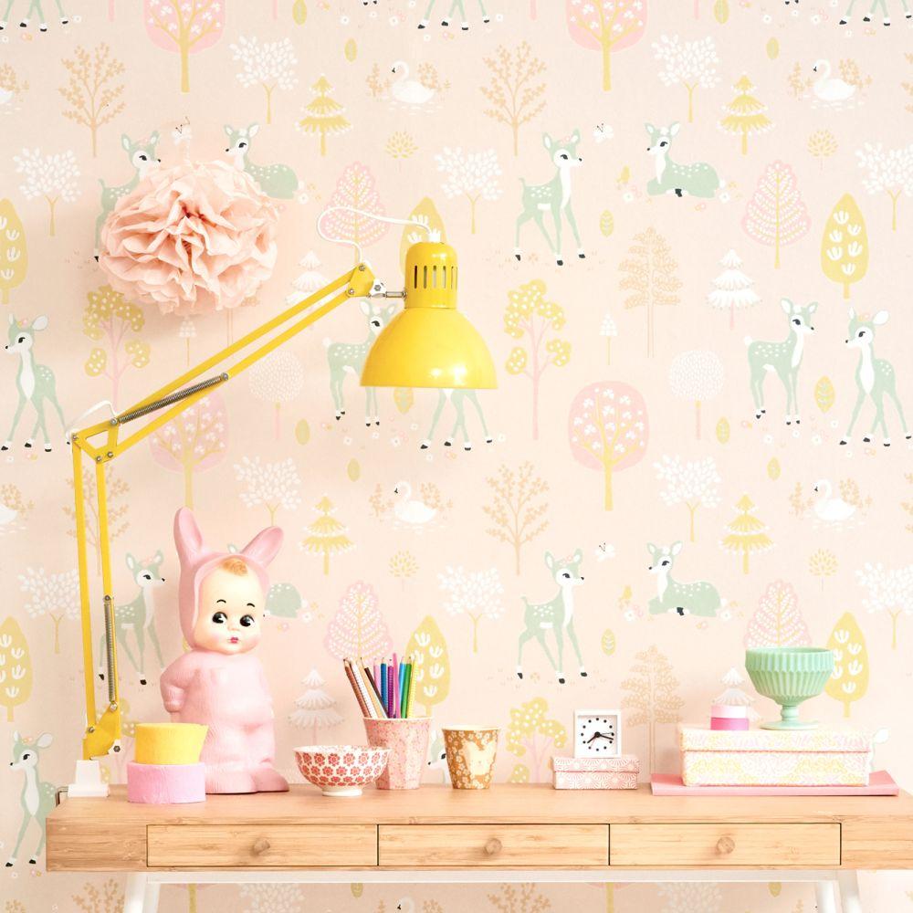 Golden Woods Wallpaper - Sweet Pink - by Majvillan