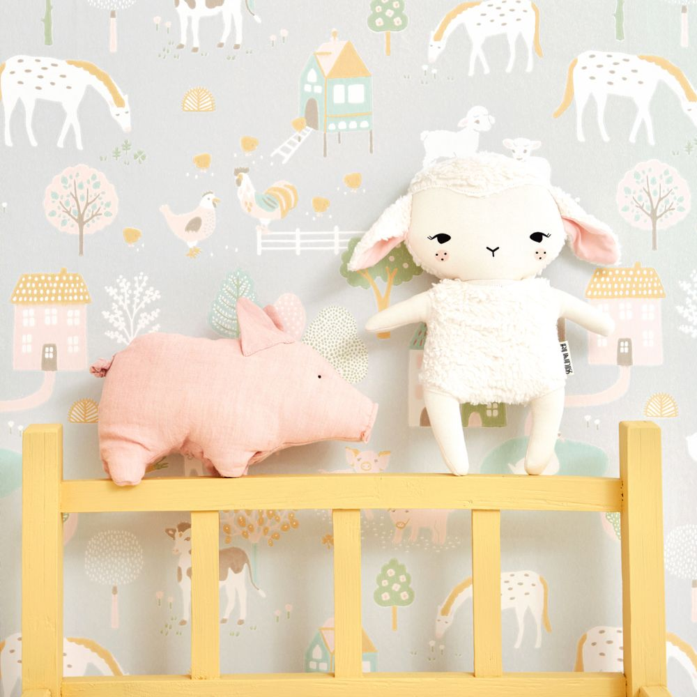 Majvillan My Farm Soft Grey Wallpaper - Product code: 127-01