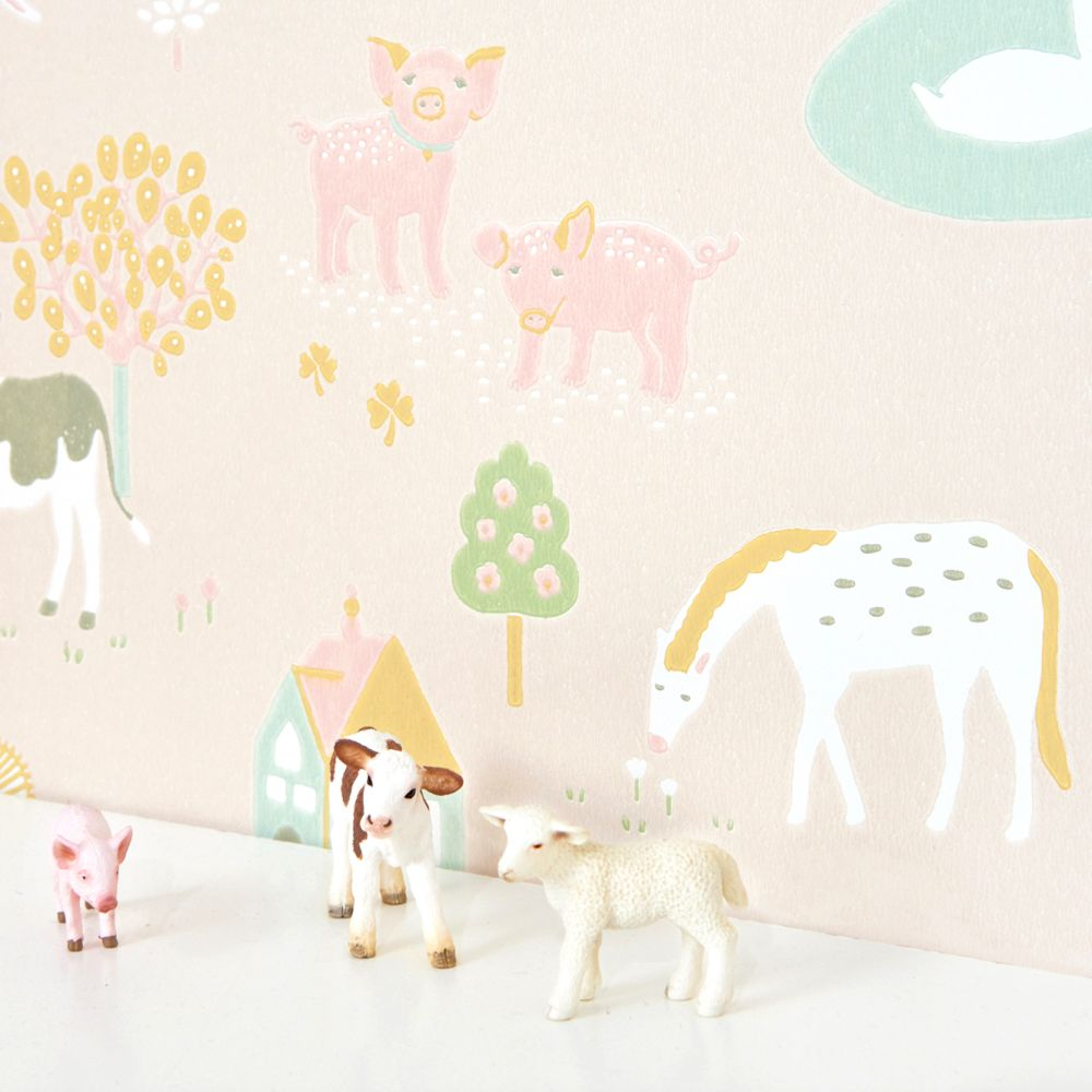 Majvillan My Farm Soft Pink Wallpaper - Product code: 127-03