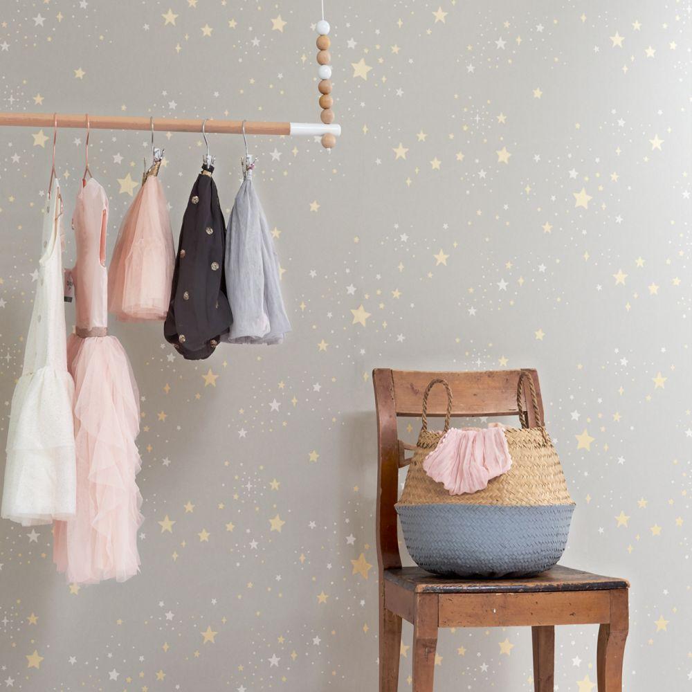 Twinkle Wallpaper - Mud Grey - by Majvillan