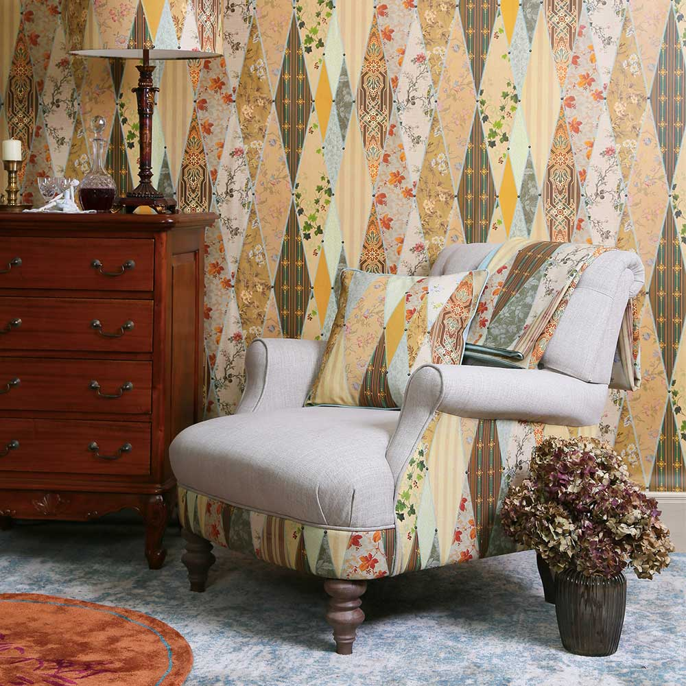 Wallpaper Museum Fabric - Multi-coloured - by The Chateau by Angel Strawbridge