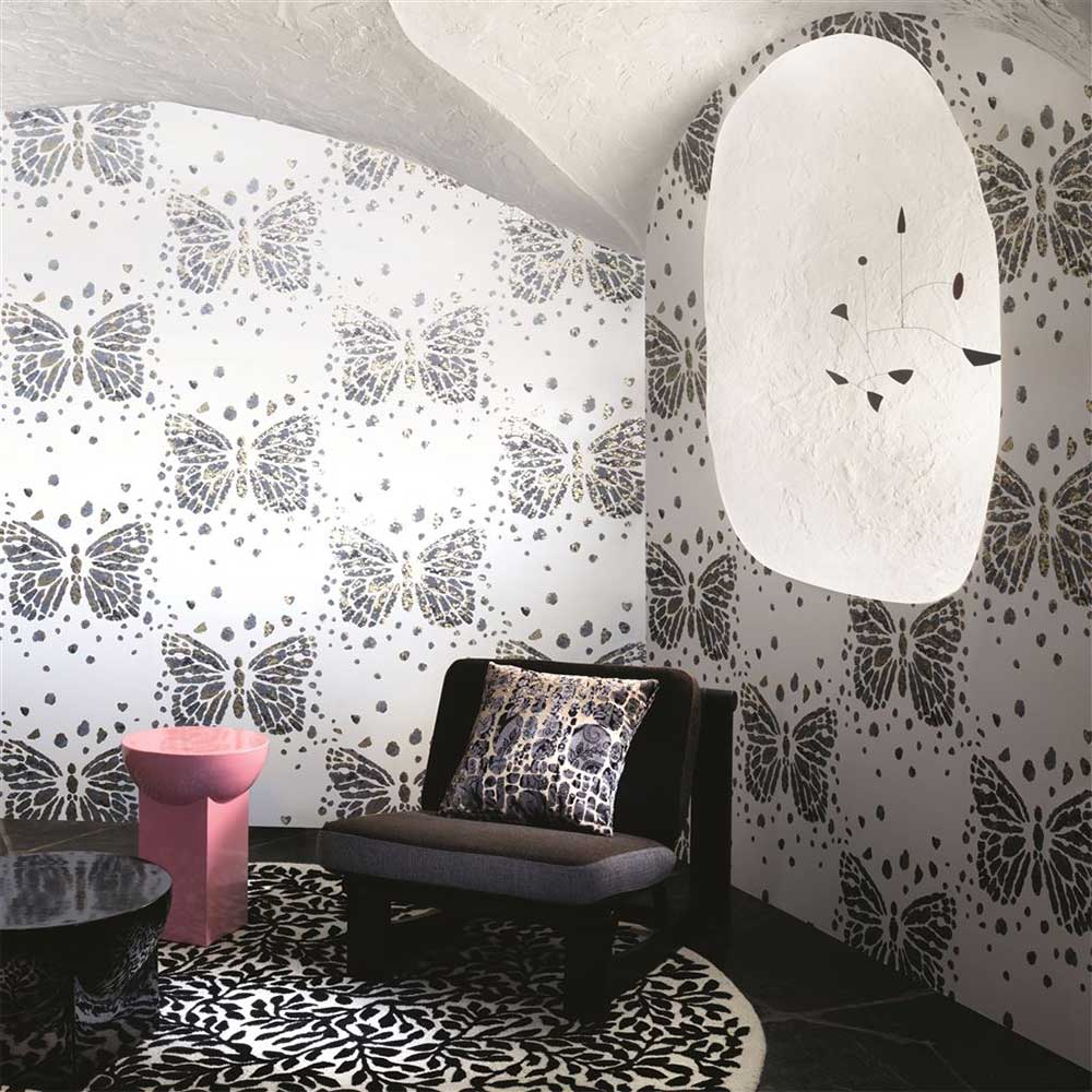 Les Messagers Wallpaper - White/ Grey/ Gold - by Christian Lacroix