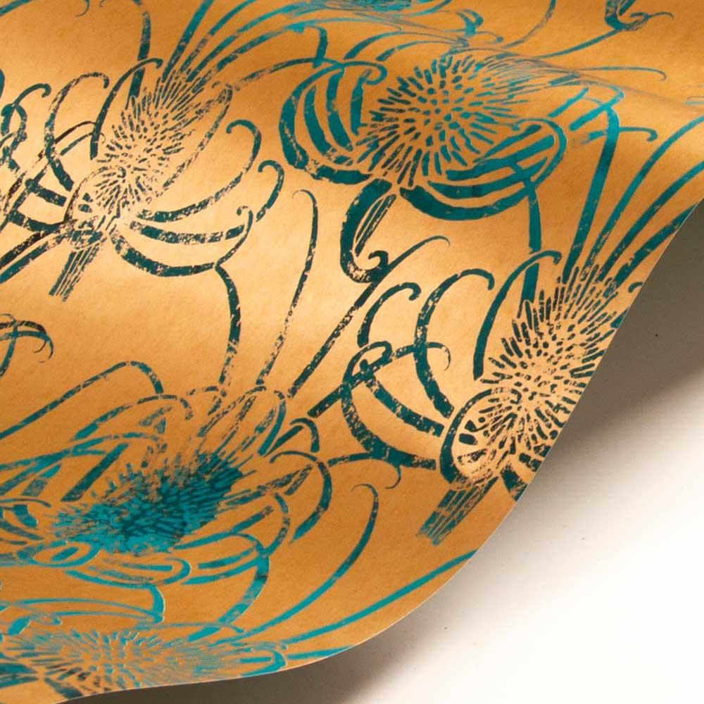 Les Centaurees Wallpaper - Copper/ Teal - by Christian Lacroix