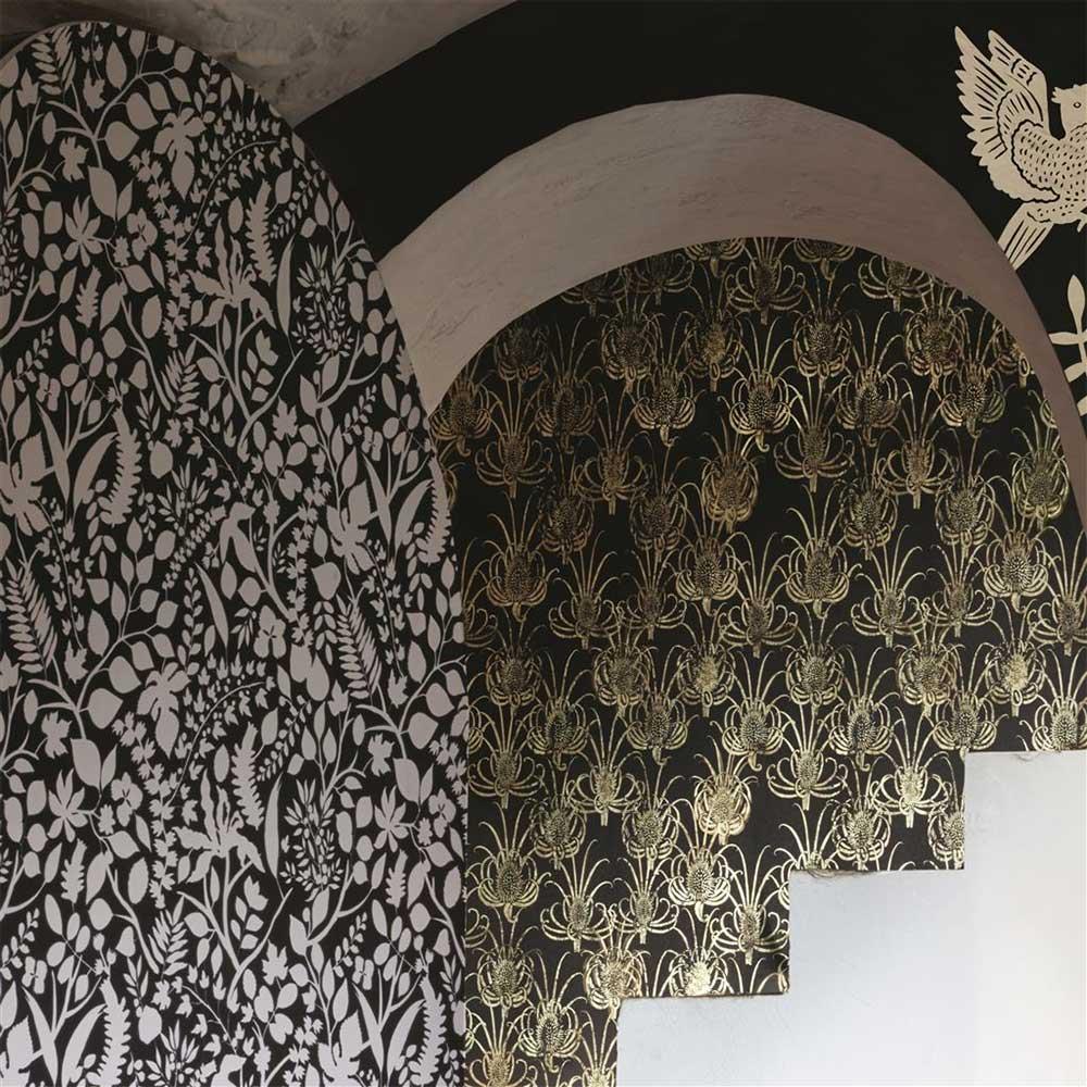 Les Centaurees Wallpaper - Black/ Gold - by Christian Lacroix