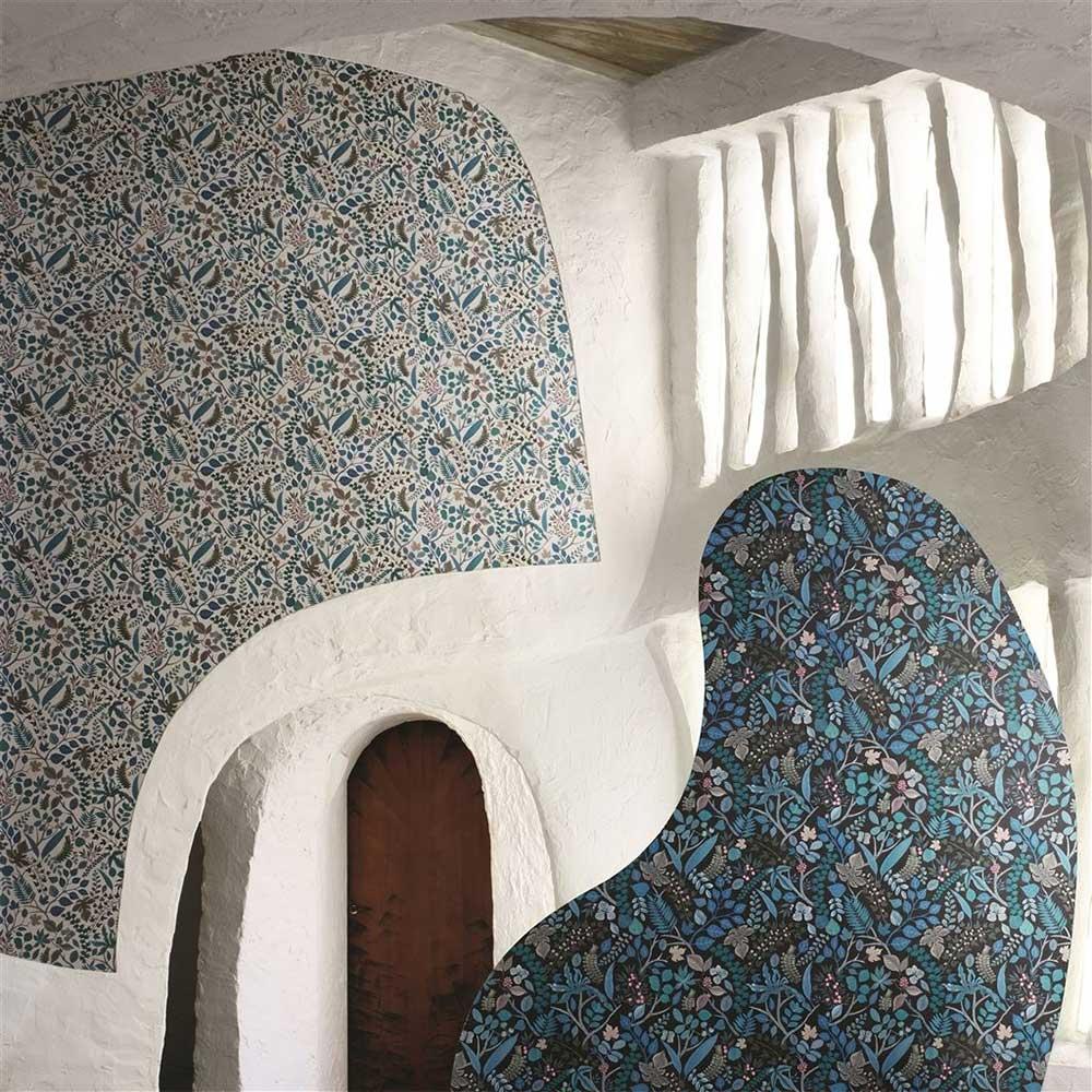 Cueillette Wallpaper - Blue/ Black - by Christian Lacroix