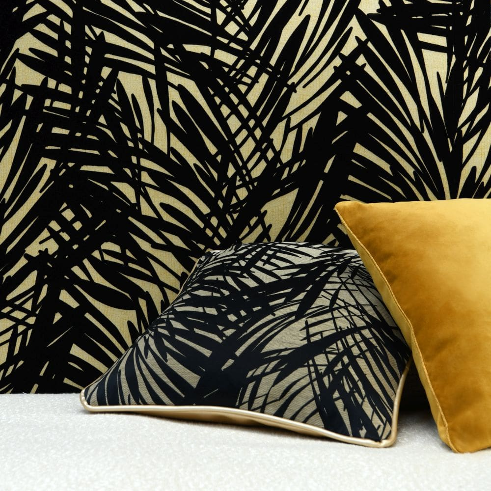 Palmeraie Wallpaper - Black / Gold - by Lelievre