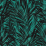 Lelievre Palmeraie Black / Peacock Wallpaper - Product code: 6442-04