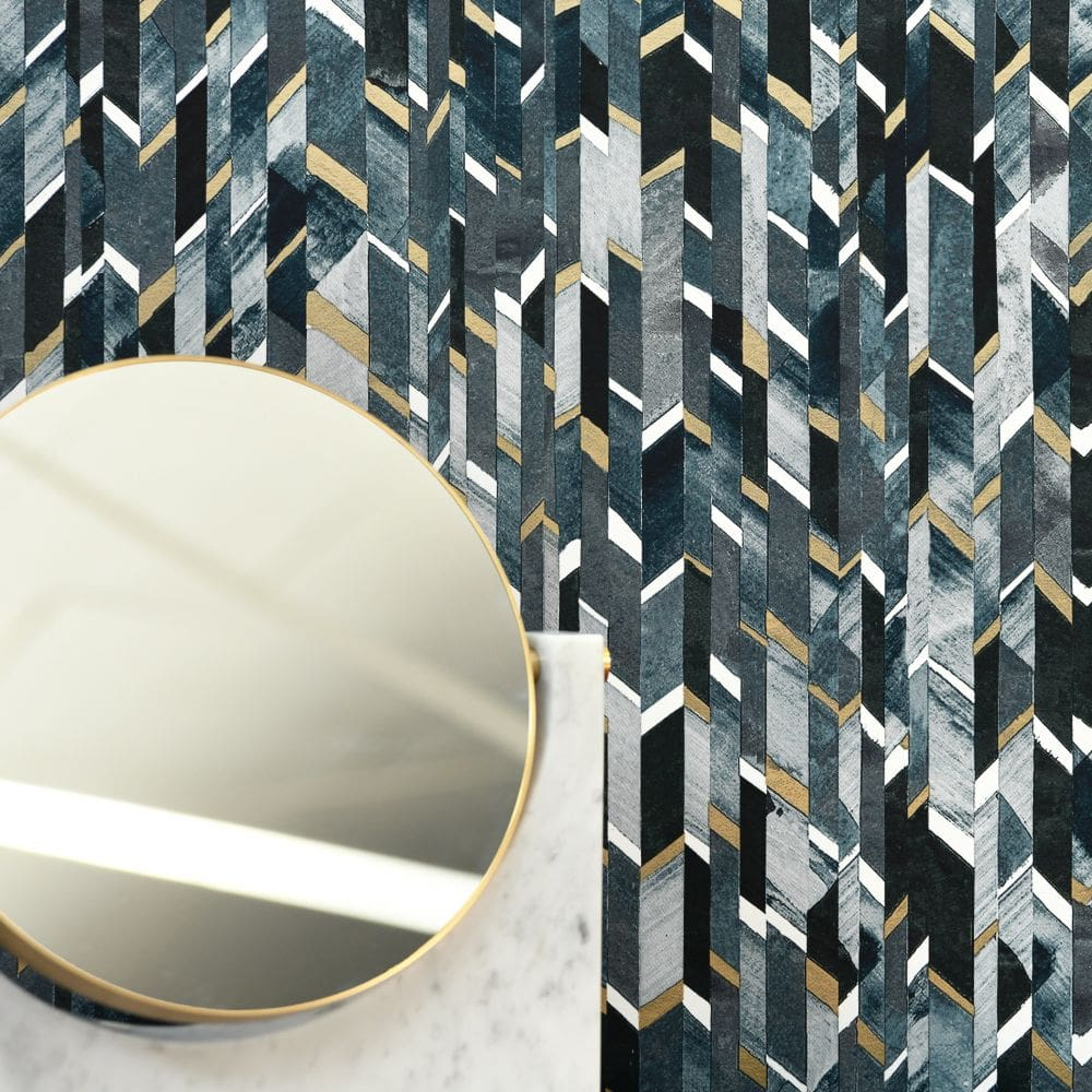 Lelievre Marqueterie Slate Wallpaper - Product code: 6445-03