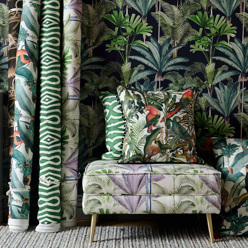 Palmeras Fabric - Green / Purple - by Mind the Gap
