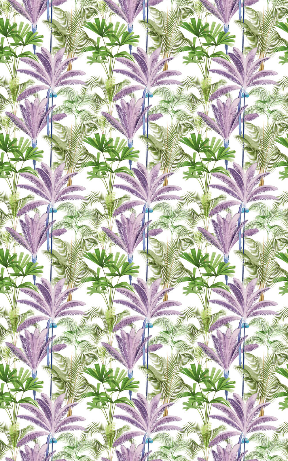 Mind the Gap Palmeras Green / Purple Fabric - Product code: FB00006
