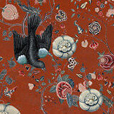 Mind the Gap Black Bird Red Fabric - Product code: FB00009