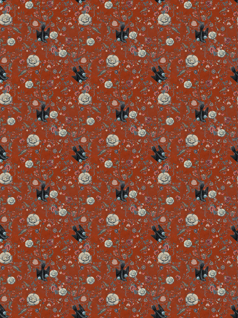Black Bird Fabric - Red - by Mind the Gap