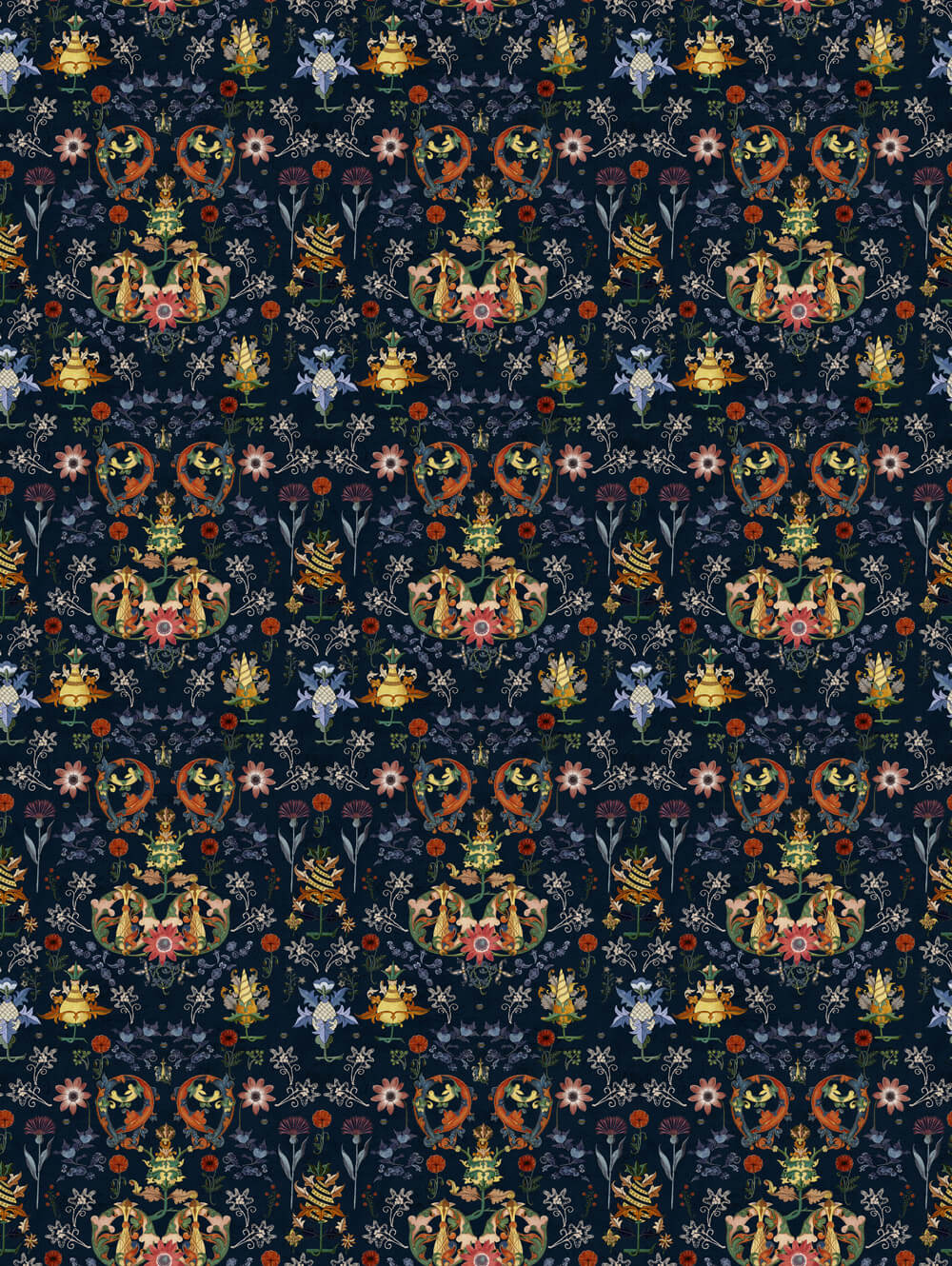 Mind the Gap Translyvania Folk Black / Multicoloured Fabric - Product code: FB00012