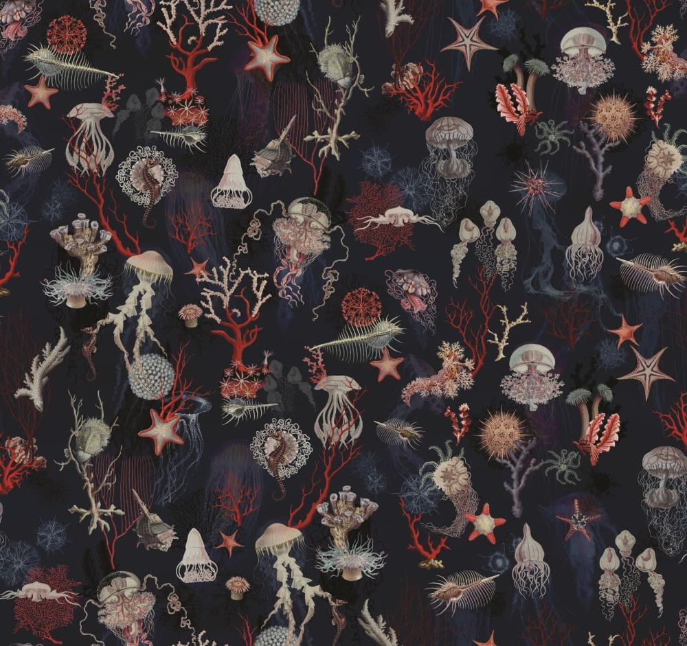Corail Wallpaper - Dark Blue - by Jean Paul Gaultier