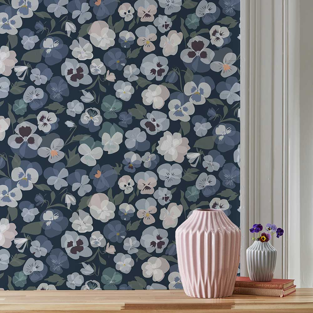 Lorna Syson Pansy Blue Wallpaper - Product code: PAW