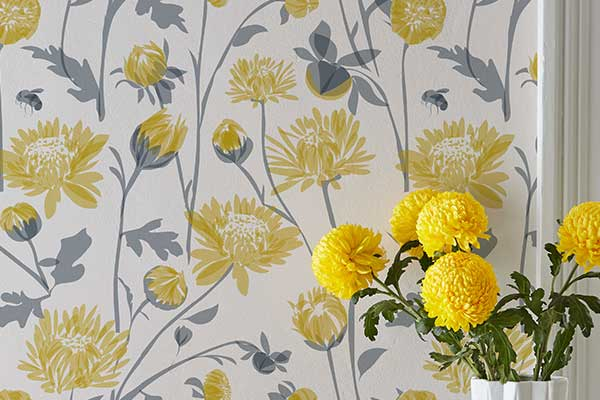 Lorna Syson Chrysanthemum Yellow Wallpaper - Product code: CHW