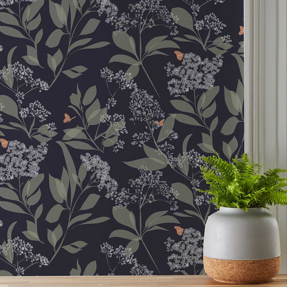 Buds and Butterflies Wallpaper - Purple - by Lorna Syson