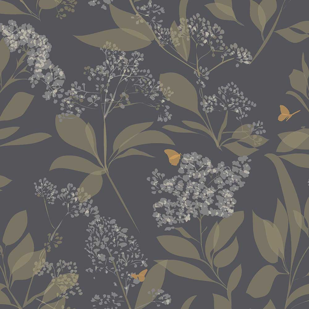 Lorna Syson Buds and Butterflies Purple Wallpaper - Product code: BUDW