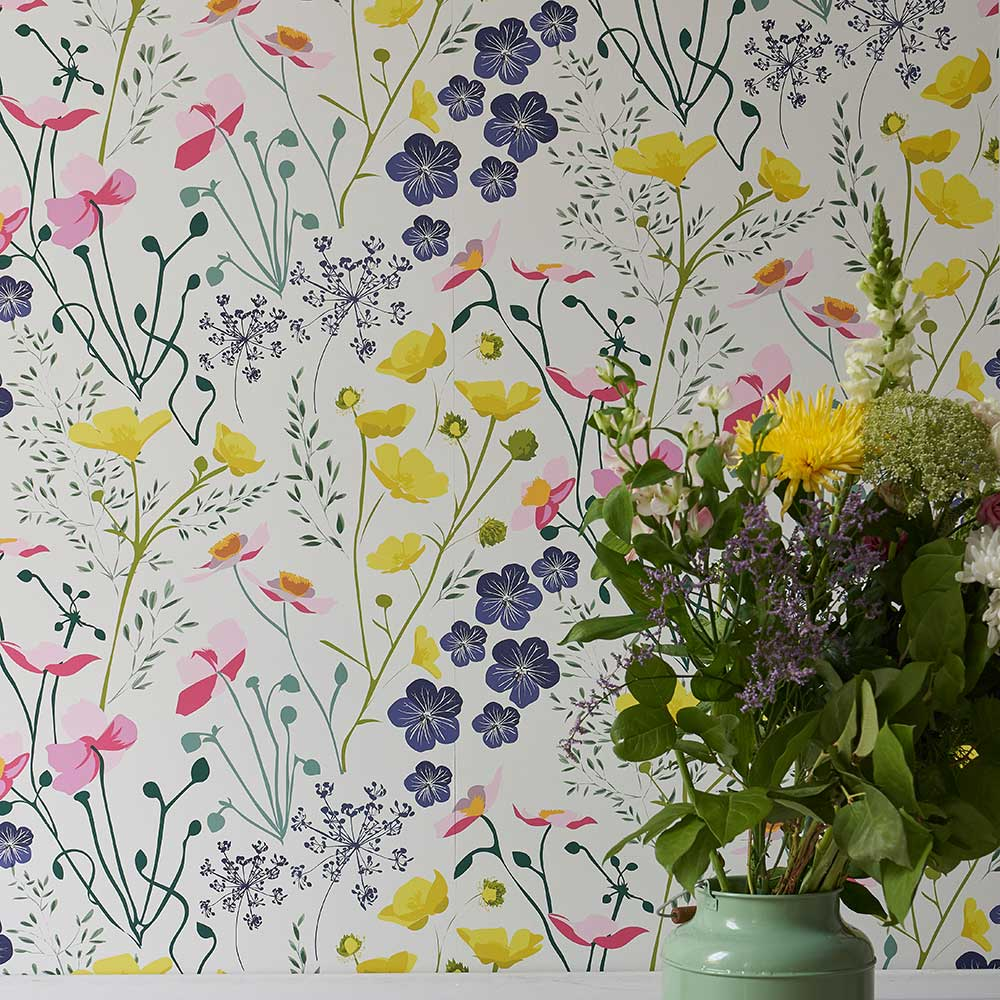 Lorna Syson Meadow Multi-coloured Wallpaper - Product code: MEW