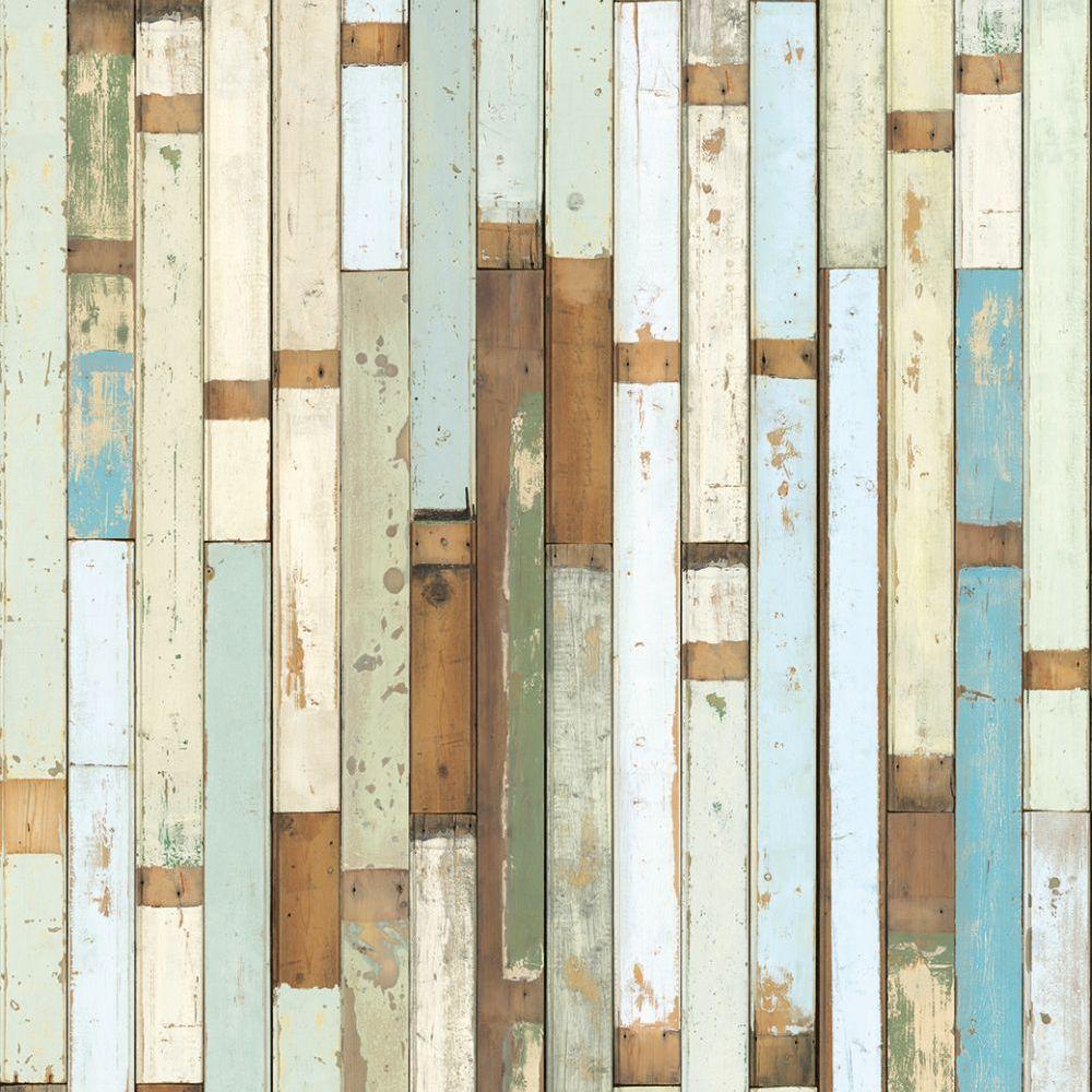 Scrapwood Wallpaper - White / Blue - by NLXL