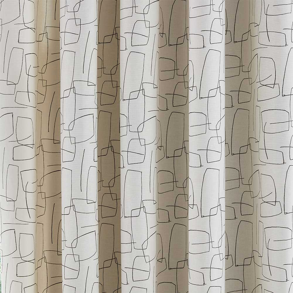 Composition Eyelet Curtains Ready Made Curtains - Putty - by Scion