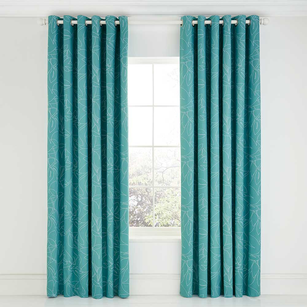 Baja Eyelet Curtains By Scion Teal 168cm X 183cm Ready Made Curtains Wallpaper Direct
