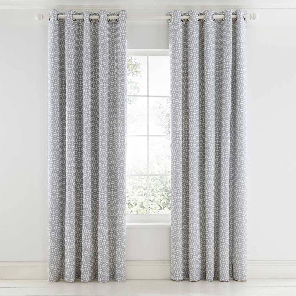 Pajaro Eyelet Curtains Ready Made Curtains - Steel - by Scion