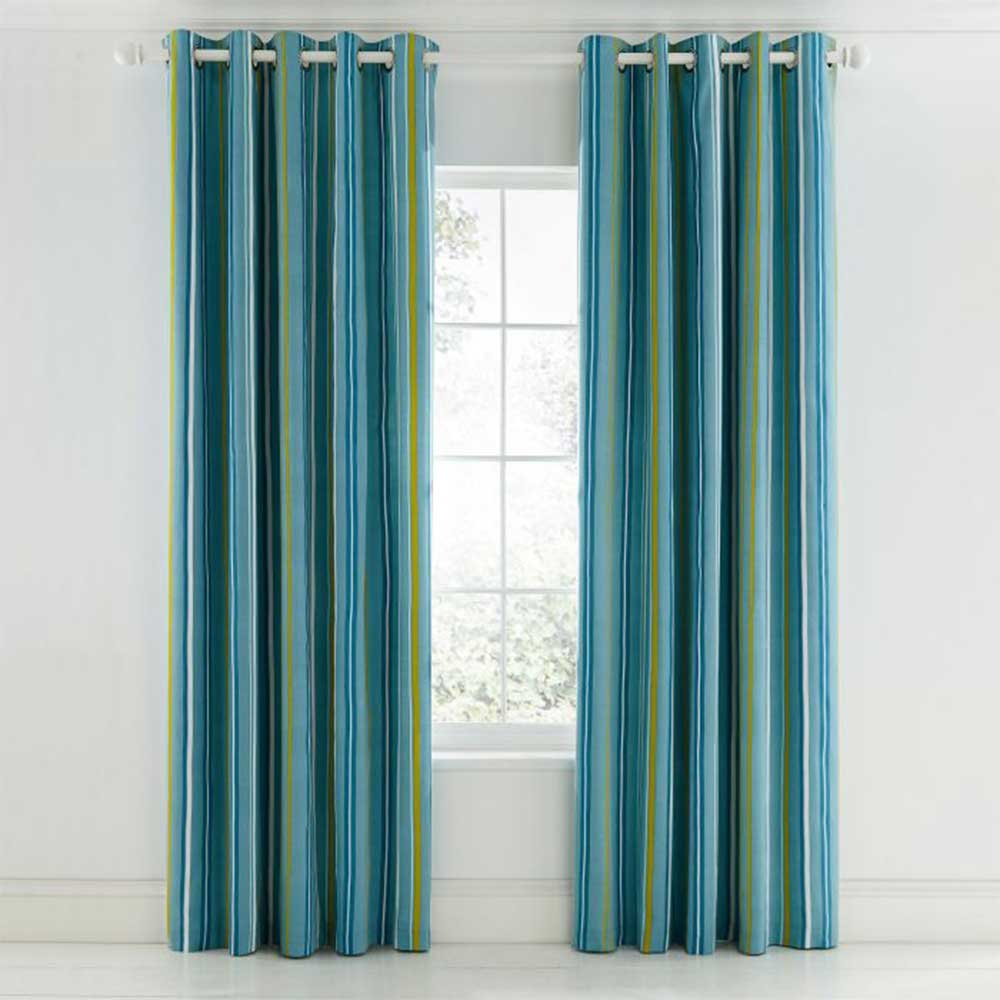 Mr Fox Eyelet Curtains Ready Made Curtains - Teal - by Scion