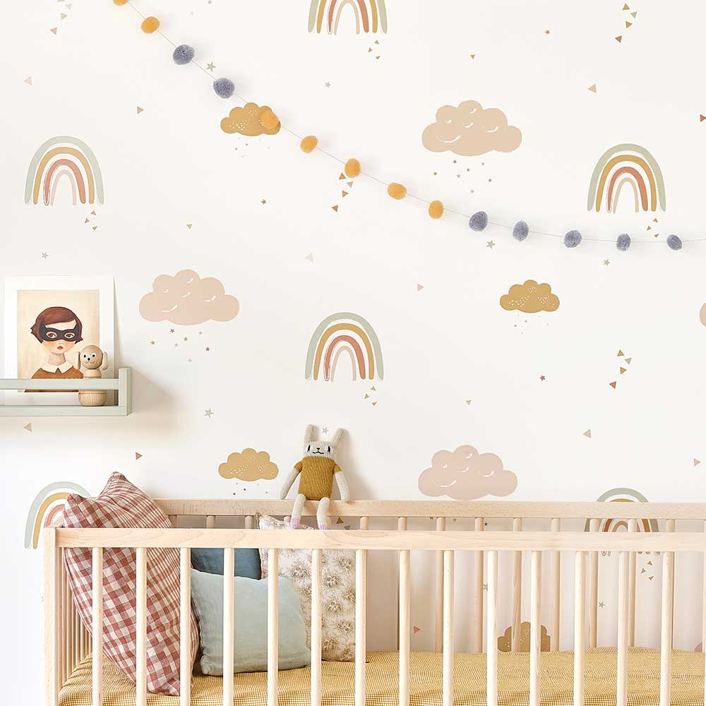 Rainbows Wallpaper - Mustard / Rose - by Hibou Home