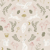 Hibou Home Woodland Wonders Pink / Olive Wallpaper - Product code: HH01501