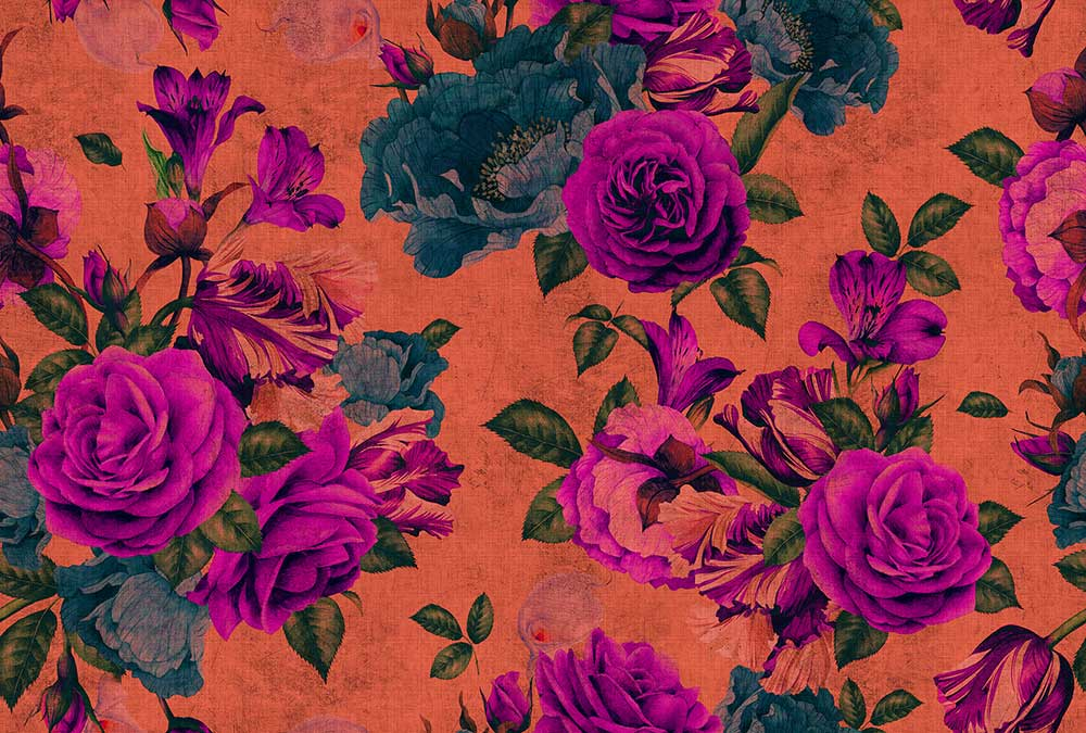 Spanish Rose 2 Mural - Orange / Pink - by Walls by Patel