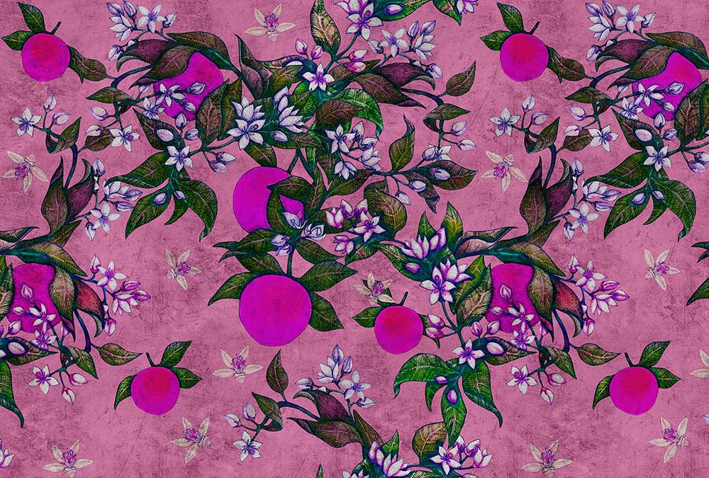 Grapefruit Tree 2 Mural - Pink - by Walls by Patel