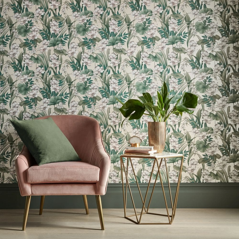 Celeste Wallpaper - Cream / Green - by Accessorize