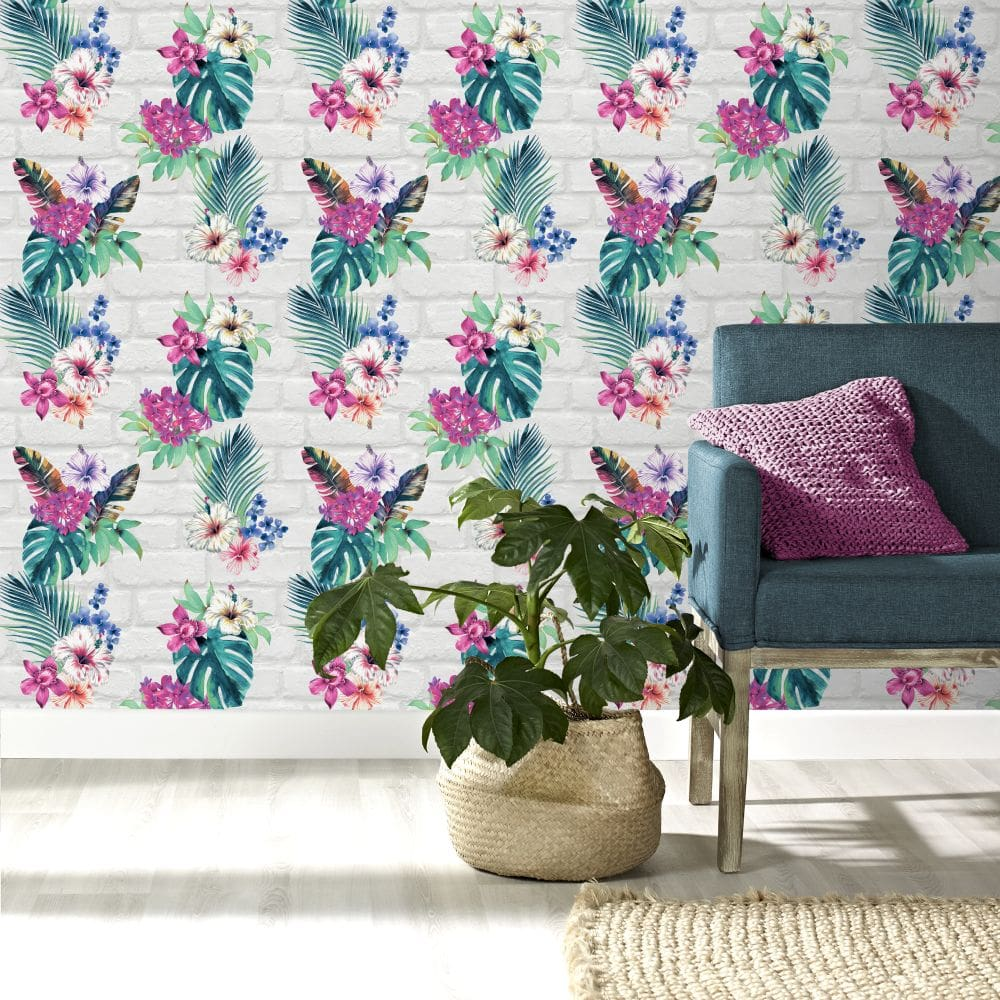 Accessorize Camden Brick Floral Multi Coloured Wallpaper - Product code: 274805